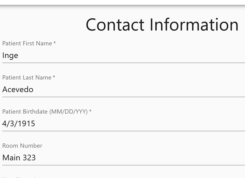 Patient Contact Information