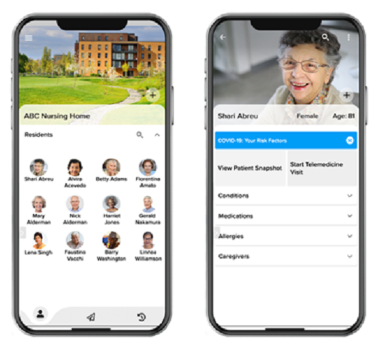Screenshot of a nursing home and resident portal on the DrOwl iOS app.