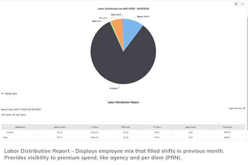 Labor Distribution Report: Displays employee mix of filled shifts in previous month. Provides visibility to premium spend like